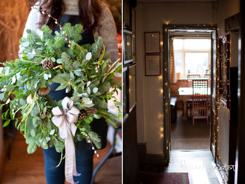 Professional colour photograph of Christmas Wreath making with Sophie's Flower Co at Chequers Inn, Woolsthorpe by Rachael Connerton Photography