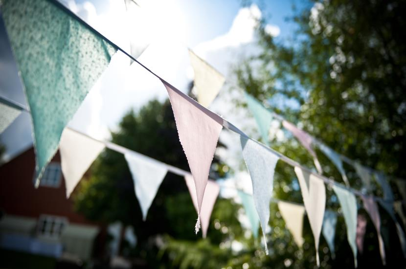 Professional photograph of wedding bunting for country marquee wedding